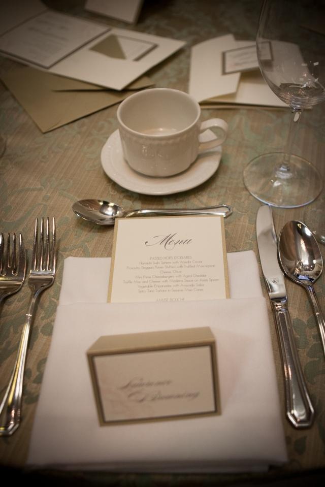 Cream and gold menu