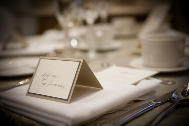 Cream and Gold place card